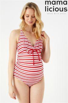 Mamalicious Maternity Stripe Swimsuit