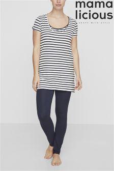 Mamalicious Maternity Stripe Pyjama Set