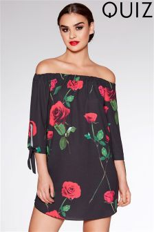 Quiz Rose Print Bardot Tunic Dress