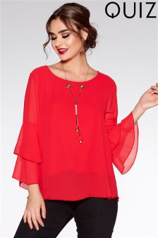 Quiz Chiffon Double Frill Necklace Top