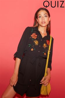 Quiz Black Floral Embroidered Shirt Dress