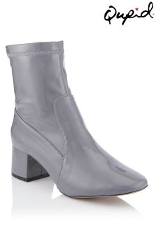 Qupid Patent Stretch Ankle Boots