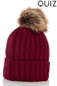 Quiz Faux Fur Pom Hat