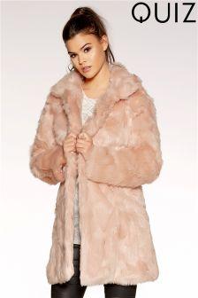 Quiz Faux Fur Collar Coat