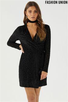 Fashion Union Velvet Leopard Print Wrap Dress