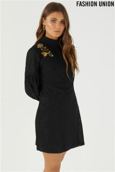 Fashion Union High Neck Embroidered Dress