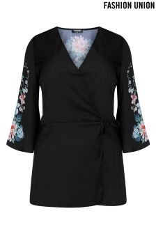 Fashion Union Curve Floral Print Kimono Top