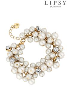 Lipsy Pearl And Crystal Cluster Bracelet