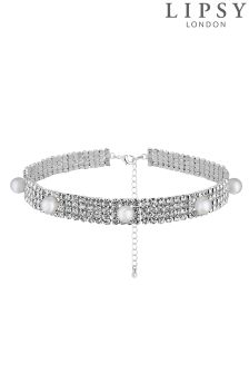 Lipsy Diamanté And Pearl Choker Necklace