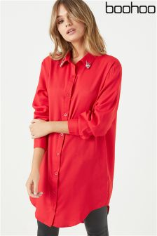 Boohoo Embellished Collar Shirt Dress