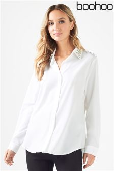 Boohoo Crystal Embellished Collar Shirt