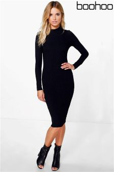 Boohoo High Neck Midi Dress