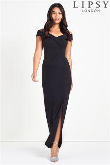 Lipsy Petite Bardot Split Maxi Dress