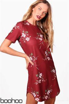 Boohoo Floral Cap Sleeve Shift Dress