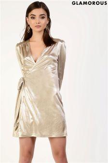 Glamorous Wrap Front Metallic Mini Dress