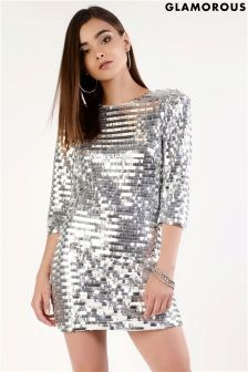 Glamorous Sequin Bodycon Dress With Zip Fastening