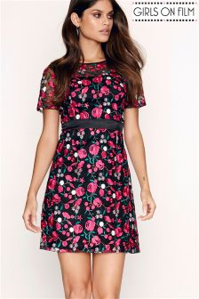 Girls On Film Embroidered Fitted Shift Dress