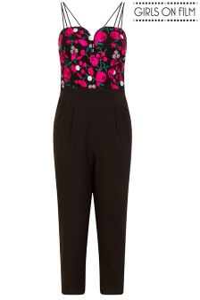 Girls On Film Embroidered Double Strap Jumpsuit