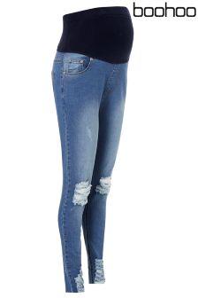 Boohoo Maternity Nicole Distressed Hem Skinny Jeans