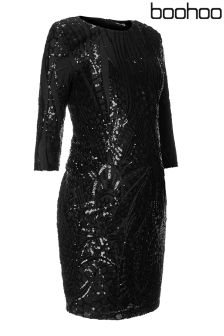 Boohoo Maternity Lauren Sequin And Mesh Dress