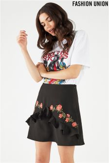 Fashion Union Embroidered Frill Skirt