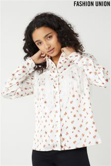 Fashion Union Satin Western Ditsy Print Shirt