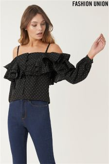 Fashion Union Polka Dot Ruffle Top