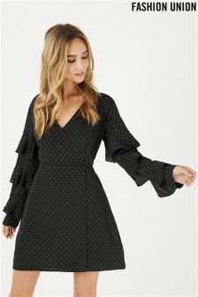 Fashion Union Spot Wrap Dress With Ruffle Sleeve