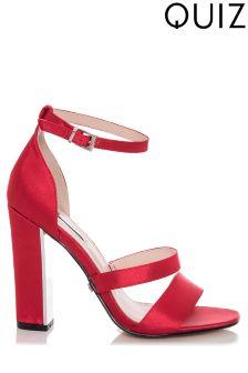 Quiz 3 Strap Block Heeled Sandals