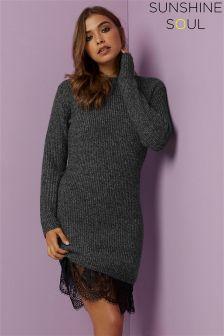 Sunshine Soul Chunky Knit Lace Hem Jumper Dress
