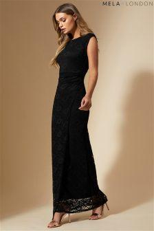 Mela London Side Ruced Lace Maxi Dress