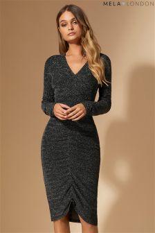 Облегающее платье с блестками и сборками Mela London