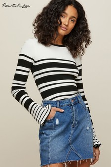 Miss Selfridge Stripe Flute Sleeve Jumper
