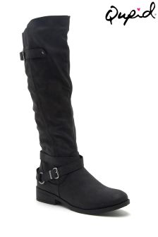 Qupid Buckle Detail Flat Boots