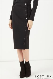 Lost Ink Button Through Pencil Skirt