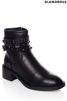 Glamorous Studded Biker Ankle Boots