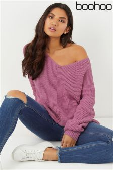 Boohoo Oversized V neck Jumper