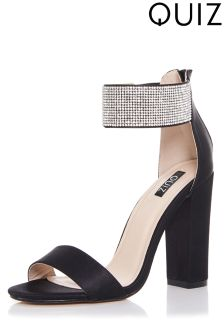 Quiz Diamanté Ankle Strap Barely There Block Heel Sandals