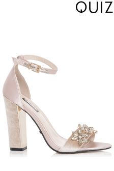 Quiz Jewelled Barely There Block Heel Sandals