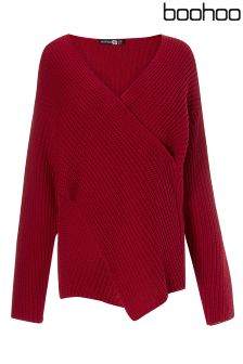 Boohoo Plus Rib Knit Front Jumper
