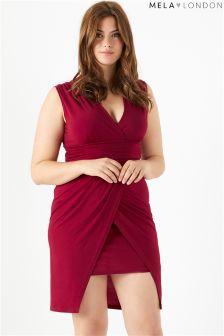 Kopertowa sukienka Mela London Curve o kroju kaskadowym
