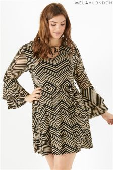 Mela London Curve Double Trumpet Sleeve Dress