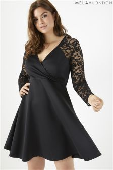 Mela London Curve Lace Sleeve Wrap Front Dress