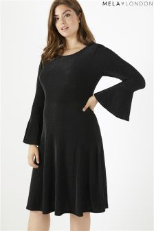 Mela London Curve Shimmer Trumpet Sleeve Dress