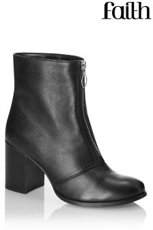Faith Front Zip Ankle Boots