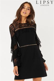 Lipsy Eyelet Shoulder A line Dress