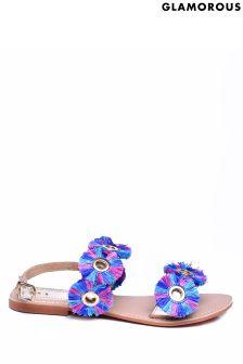 Glamorous Leather Fringe Disc Sandals