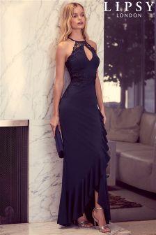 Lipsy Halterneck Frill Skirt Maxi Dress