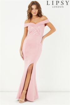 Lipsy Sequin Lace Bardot Maxi Dress
