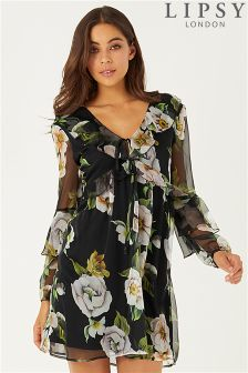 Lipsy Floral Printed Ruffle Dress